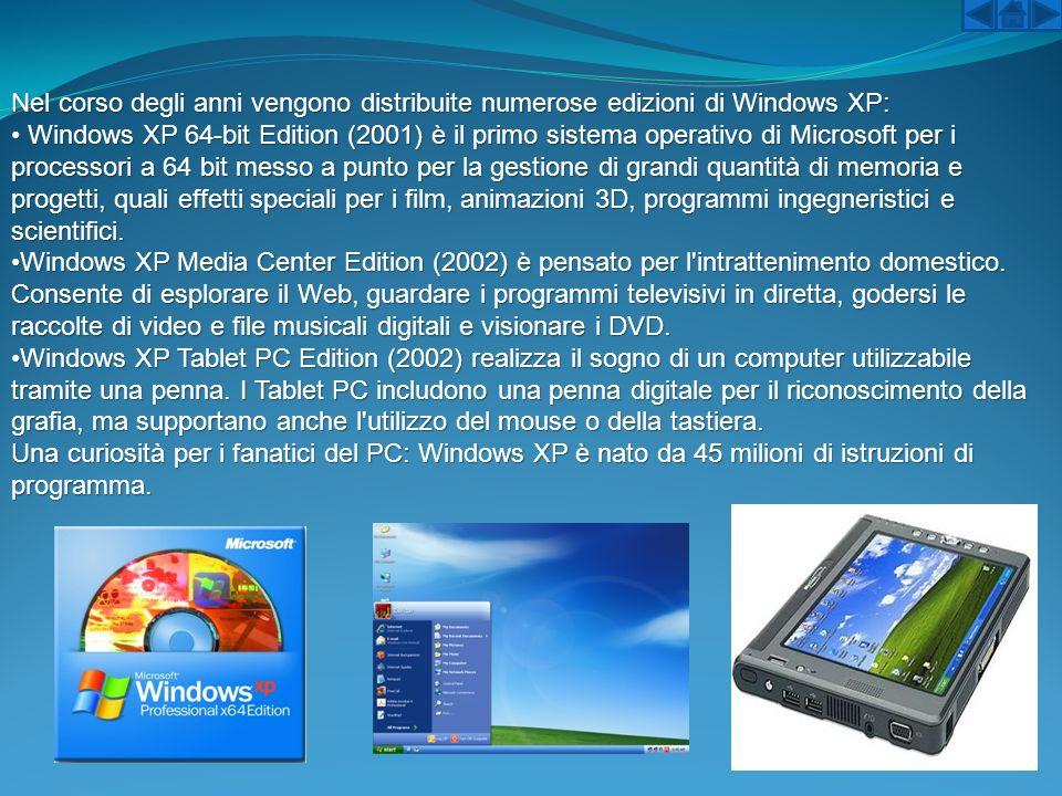 Nel corso degli anni vengono distribuite numerose edizioni di Windows XP: