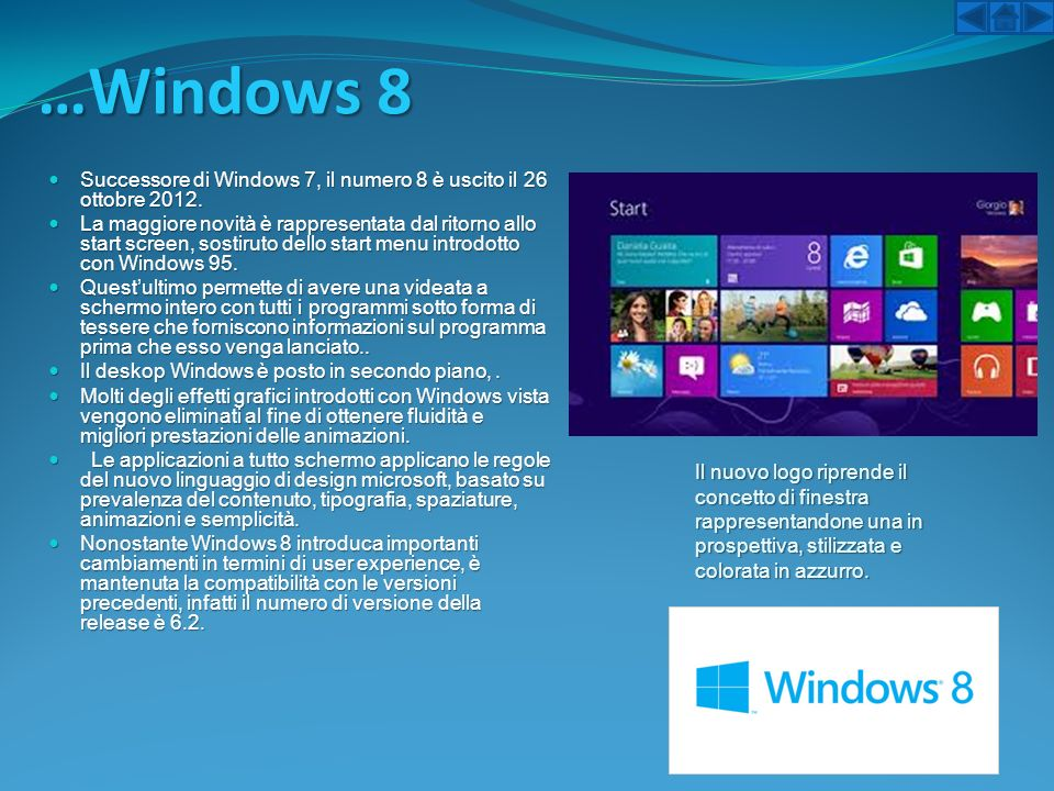 …Windows 8 Successore di Windows 7, il numero 8 è uscito il 26 ottobre 2012.