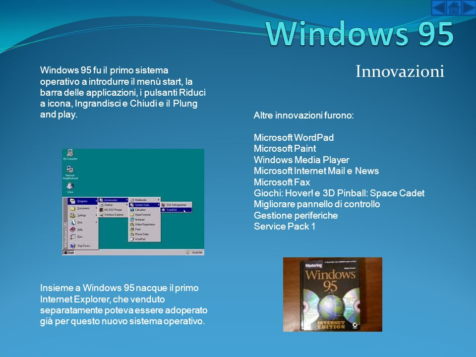 Windows 95 Innovazioni.