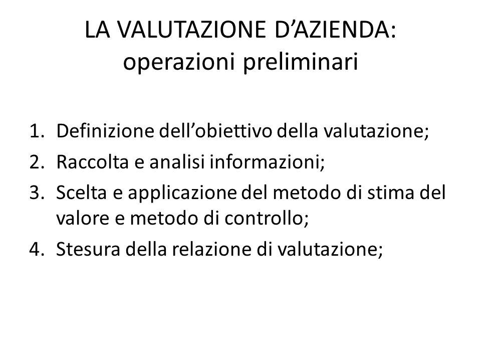 LA VALUTAZIONE D'AZIENDA: operazioni preliminari