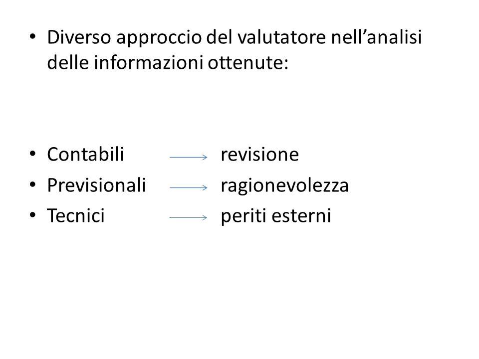 Diverso approccio del valutatore nell'analisi delle informazioni ottenute: