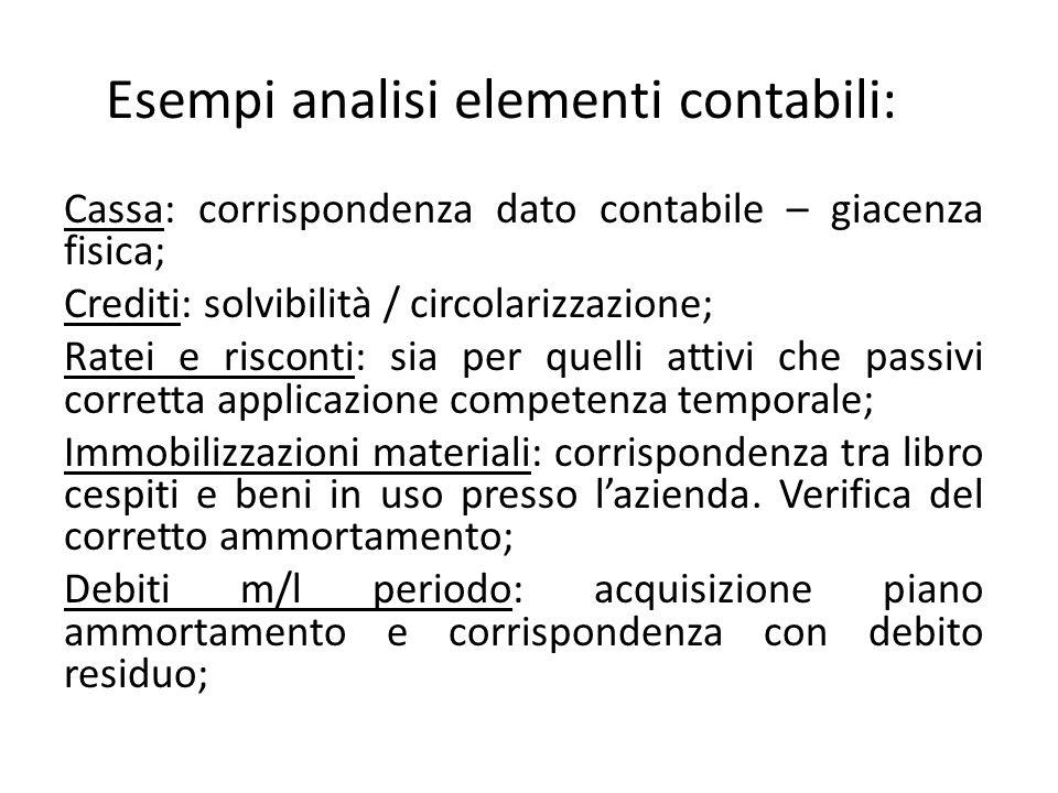 Esempi analisi elementi contabili: