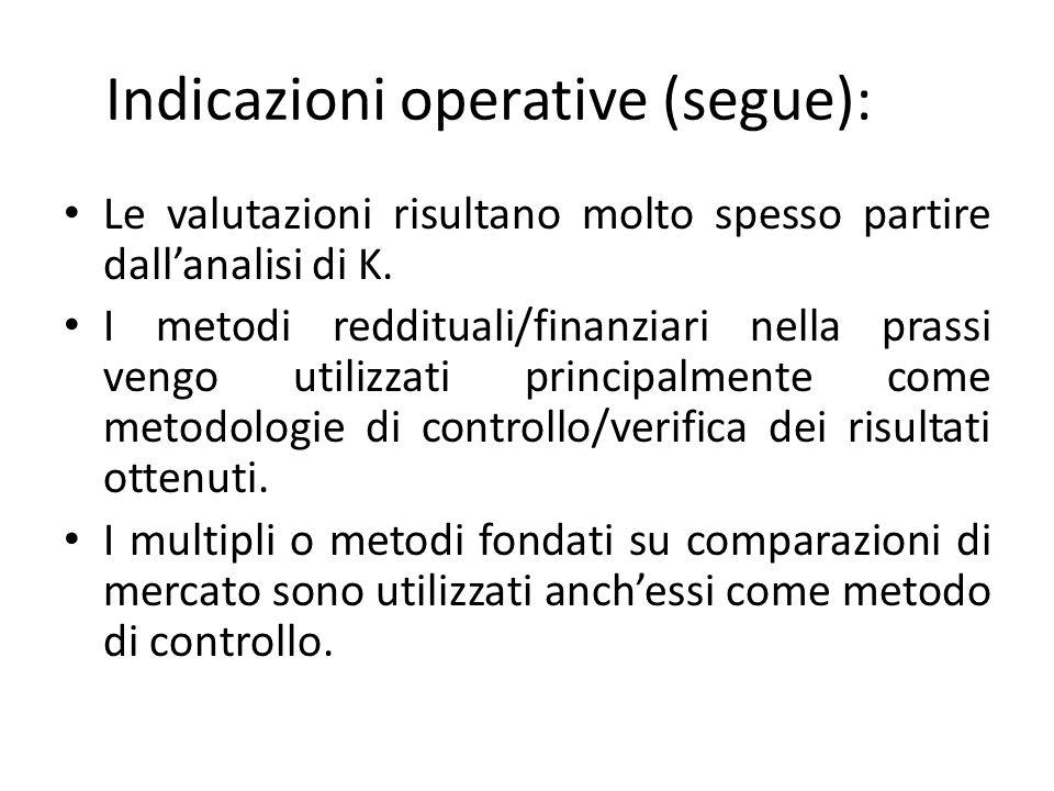Indicazioni operative (segue):