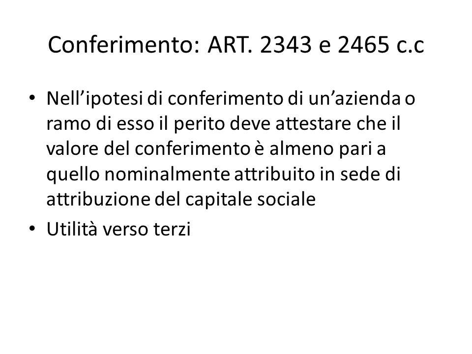 Conferimento: ART. 2343 e 2465 c.c