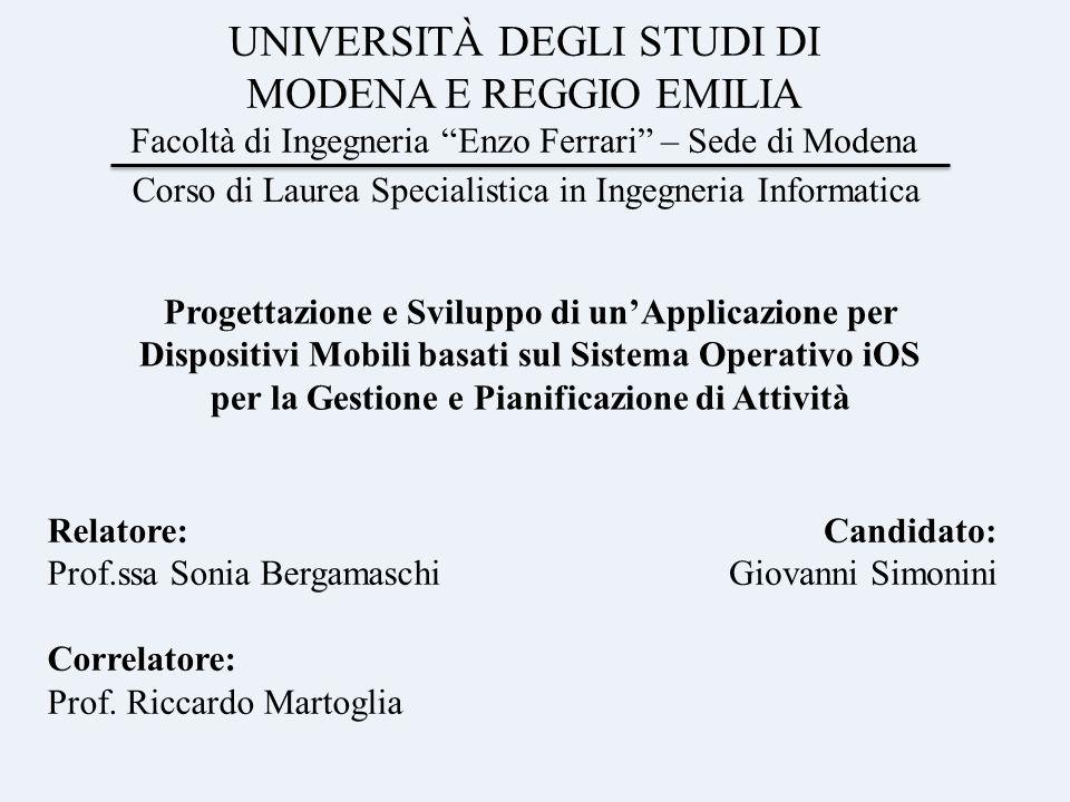 UNIVERSITÀ DEGLI STUDI DI MODENA E REGGIO EMILIA Facoltà di Ingegneria Enzo Ferrari – Sede di Modena