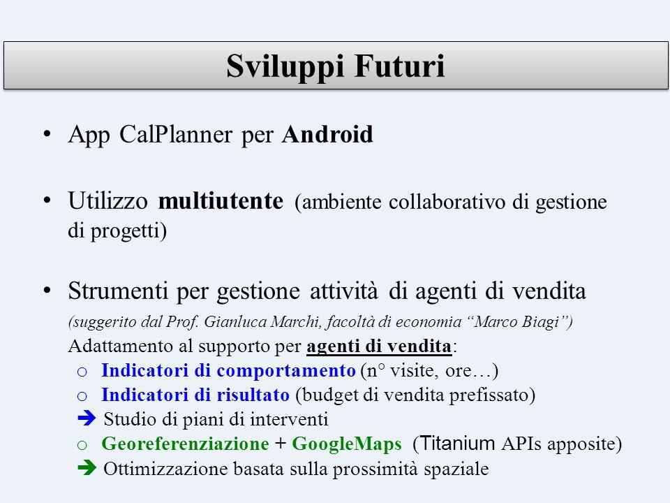 Sviluppi Futuri App CalPlanner per Android
