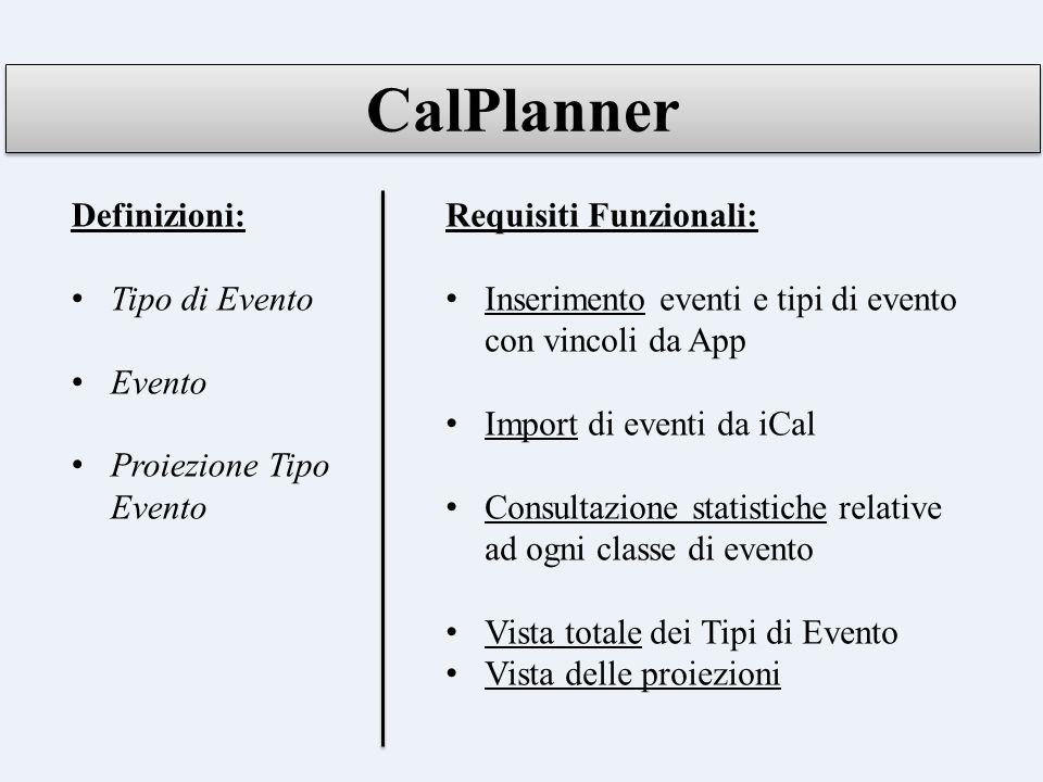 CalPlanner Definizioni: Tipo di Evento Evento Proiezione Tipo Evento