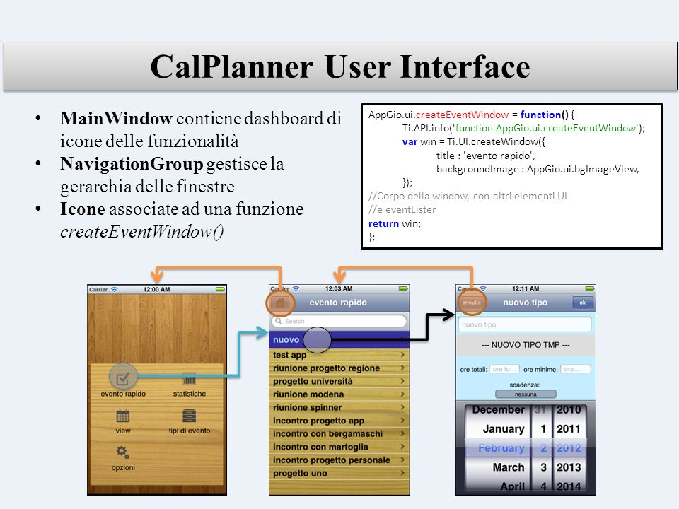 CalPlanner User Interface