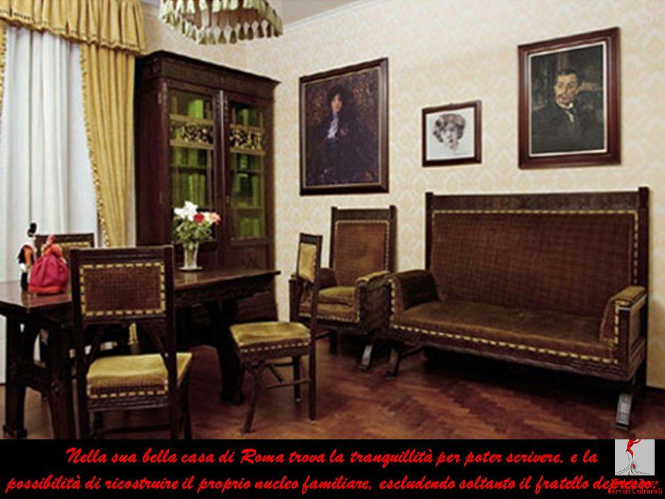 Nella sua bella casa di Roma trova la tranquillità per poter scrivere, e la