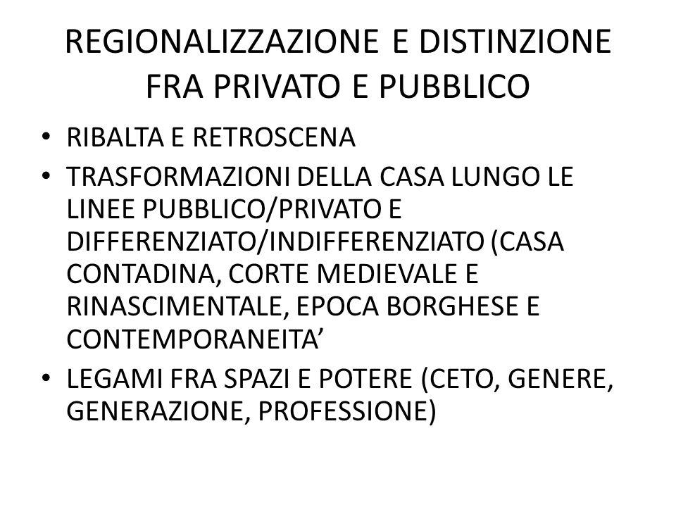 REGIONALIZZAZIONE E DISTINZIONE FRA PRIVATO E PUBBLICO