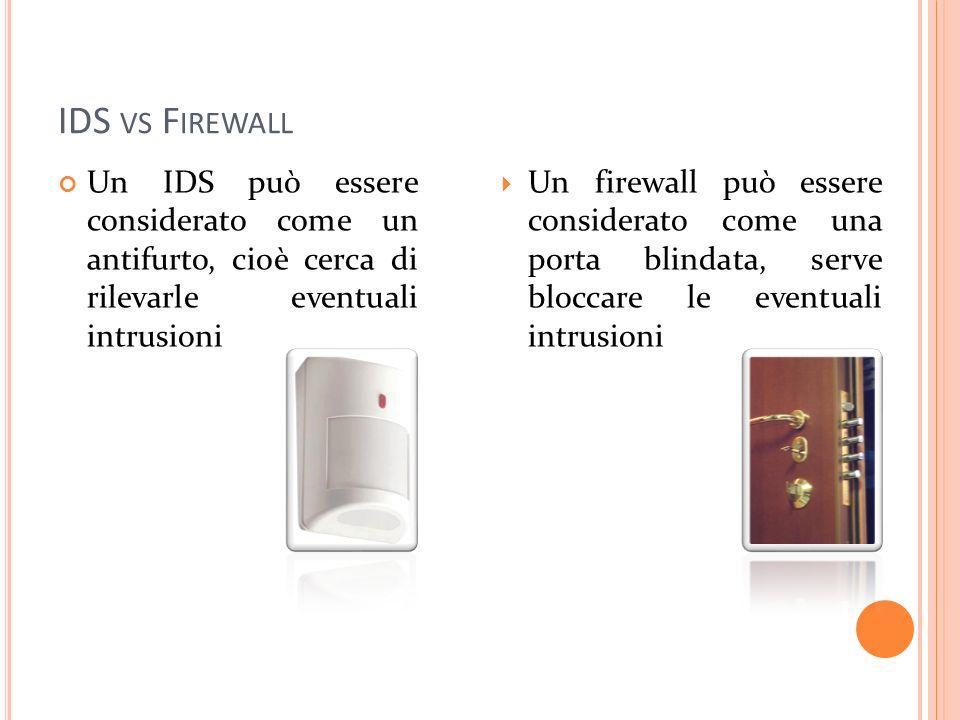 IDS vs Firewall Un IDS può essere considerato come un antifurto, cioè cerca di rilevarle eventuali intrusioni.