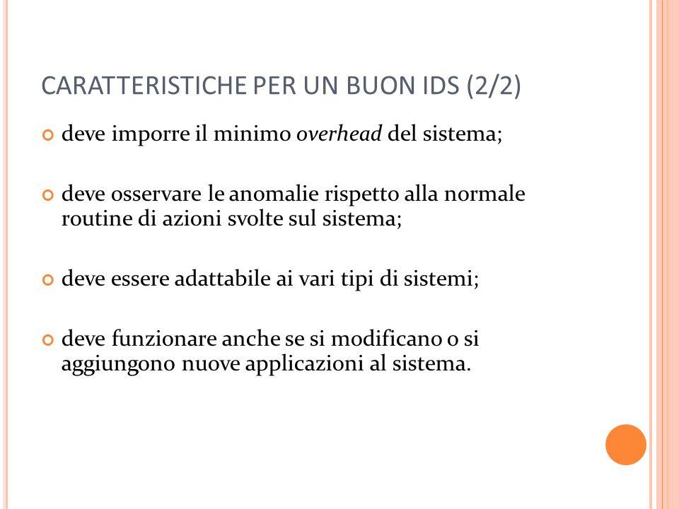 CARATTERISTICHE PER UN BUON IDS (2/2)