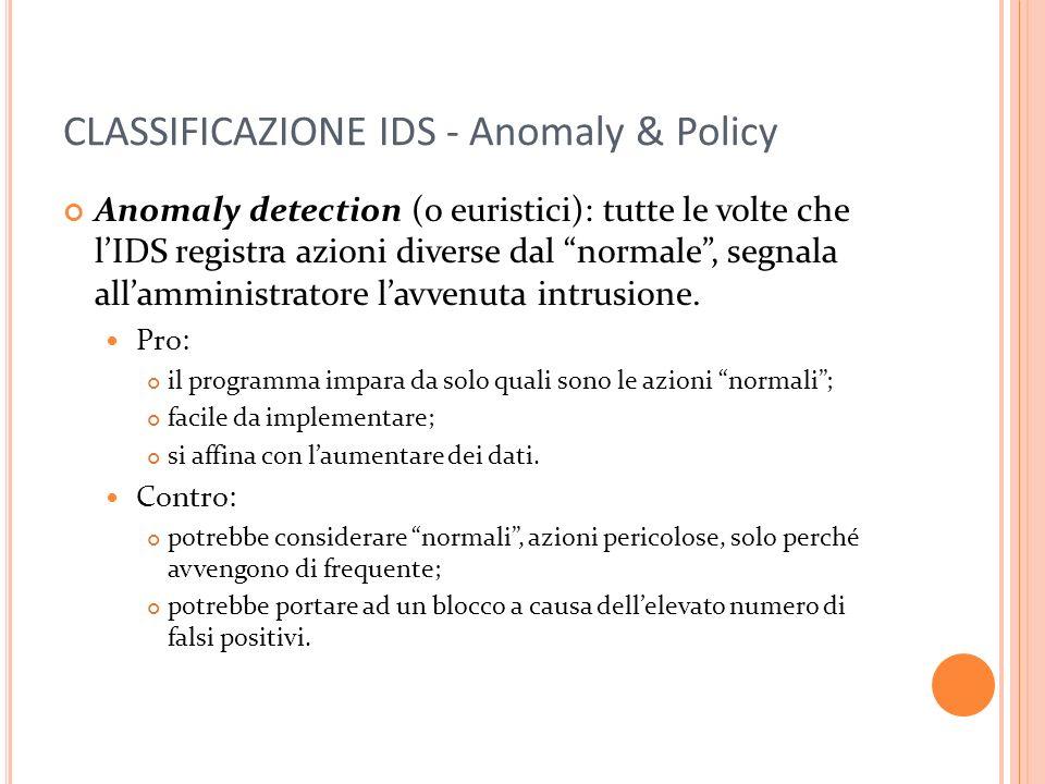 CLASSIFICAZIONE IDS - Anomaly & Policy