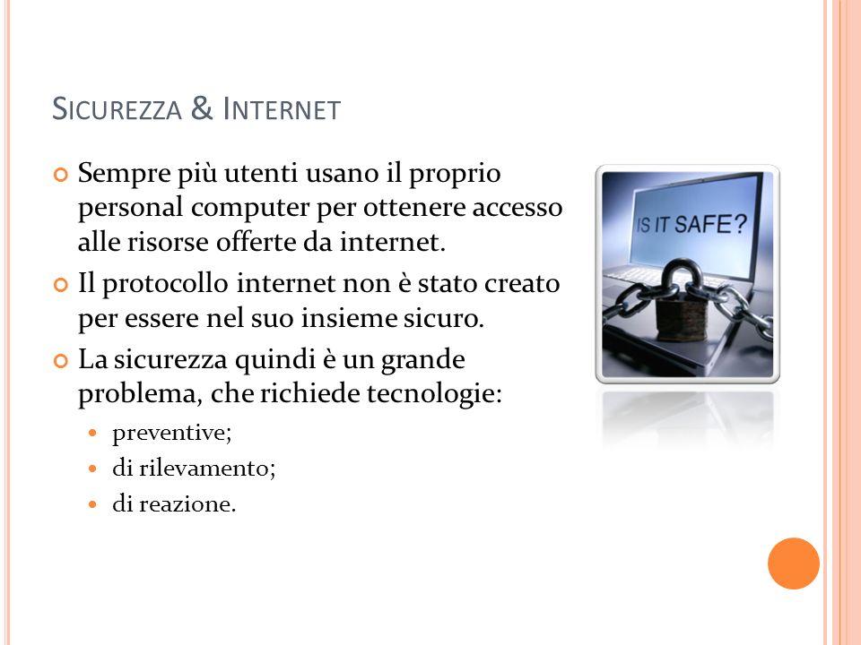 Sicurezza & Internet Sempre più utenti usano il proprio personal computer per ottenere accesso alle risorse offerte da internet.