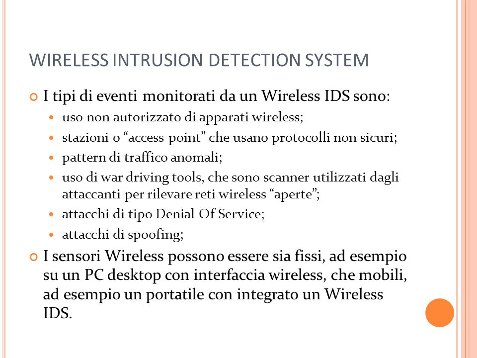 WIRELESS INTRUSION DETECTION SYSTEM