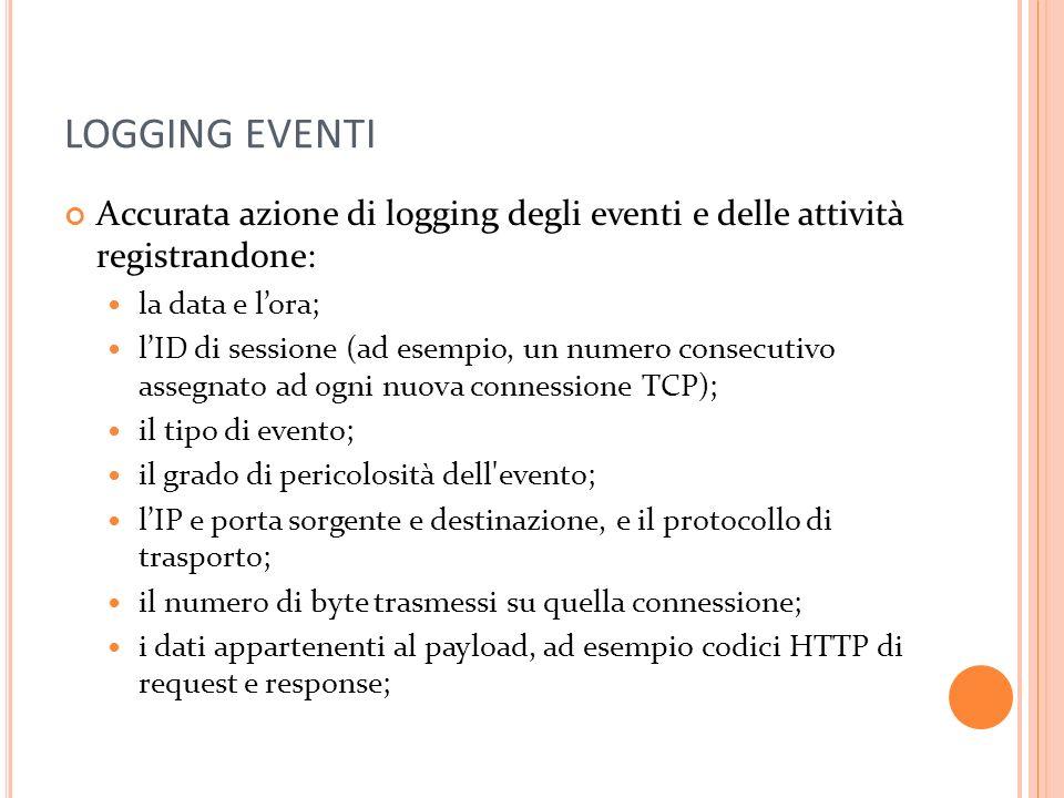 LOGGING EVENTI Accurata azione di logging degli eventi e delle attività registrandone: la data e l'ora;