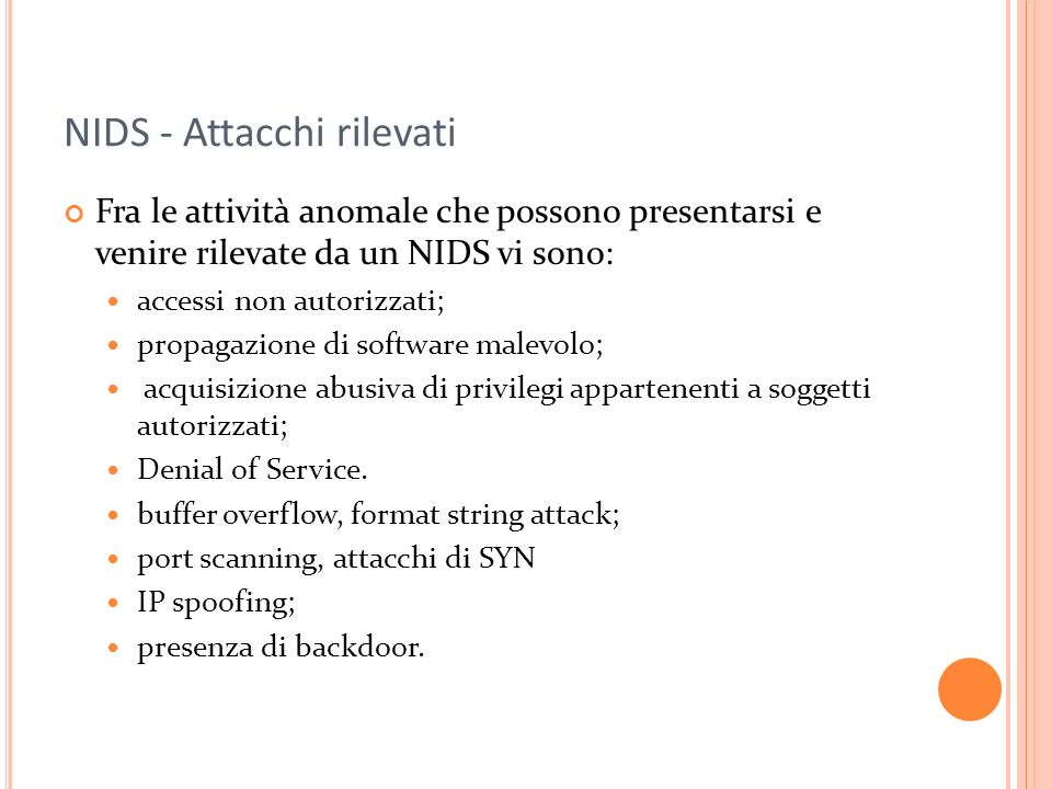 NIDS - Attacchi rilevati
