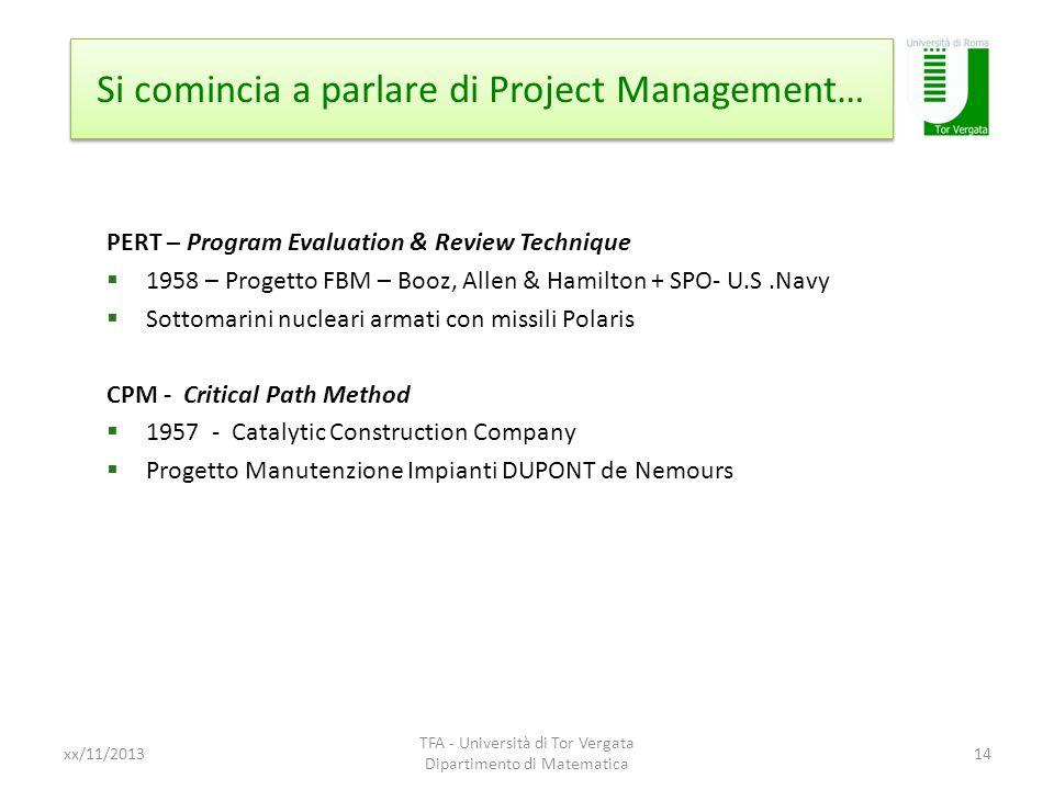 Si comincia a parlare di Project Management…
