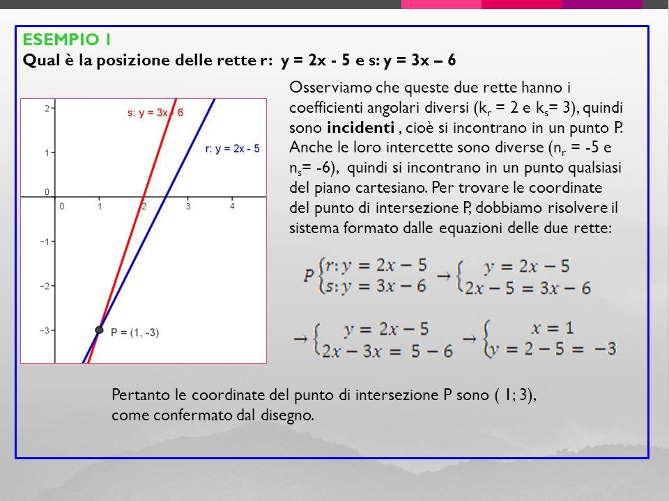ESEMPIO 1 Qual è la posizione delle rette r: y = 2x - 5 e s: y = 3x – 6.