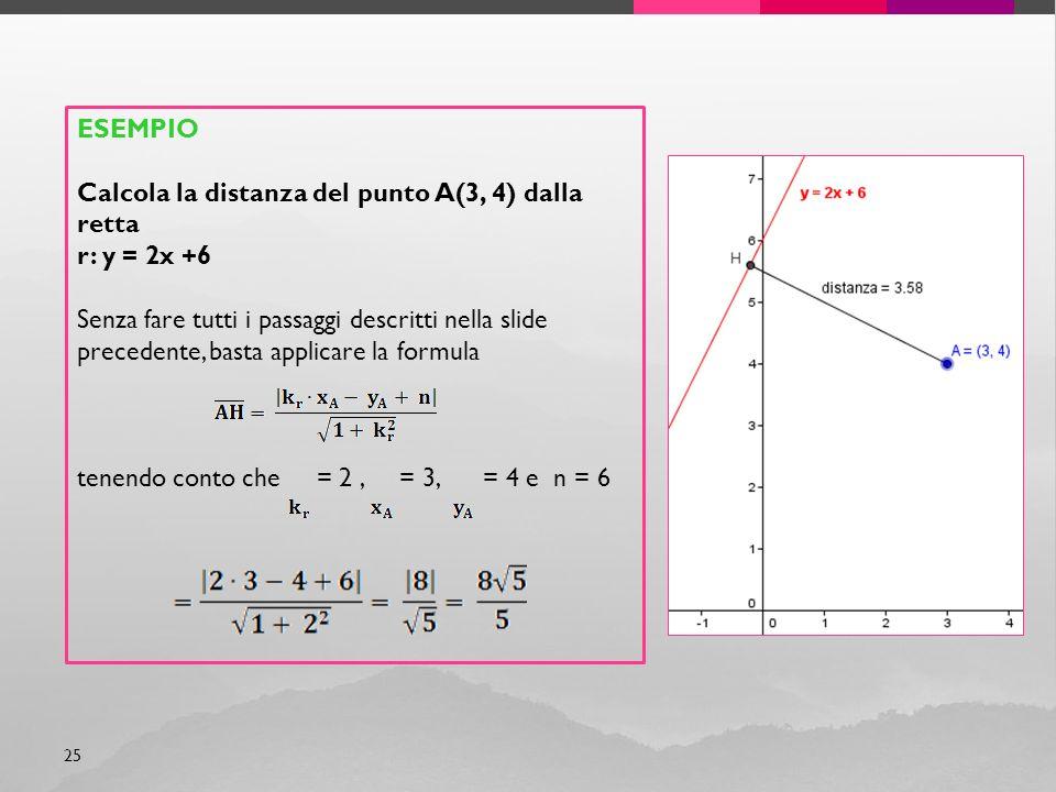 ESEMPIO Calcola la distanza del punto A(3, 4) dalla retta. r: y = 2x +6.
