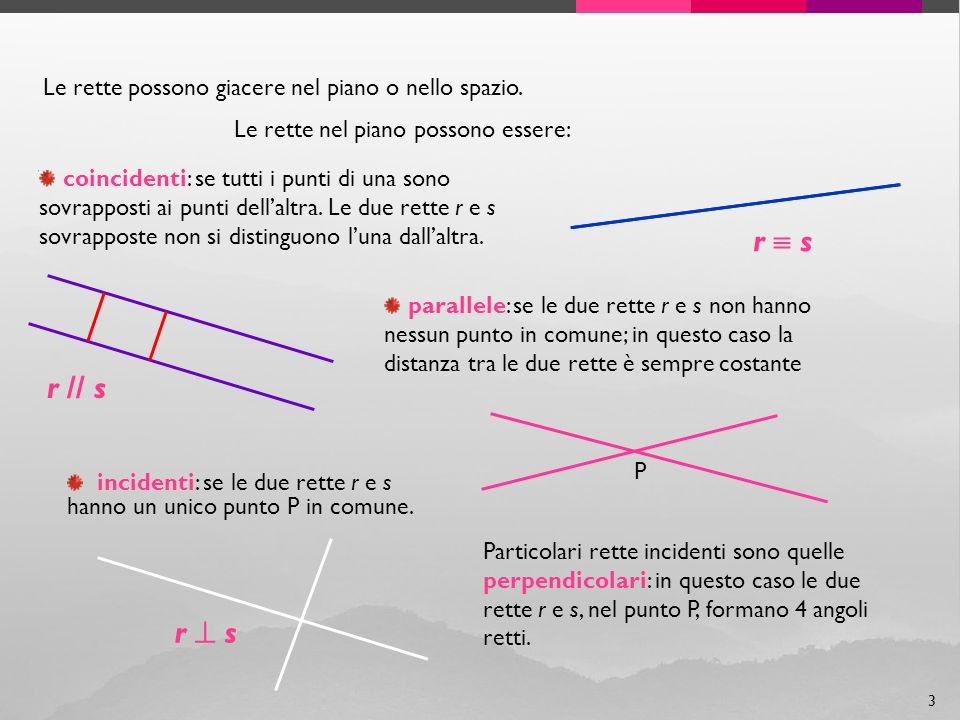 r  s r // s r  s Le rette possono giacere nel piano o nello spazio.