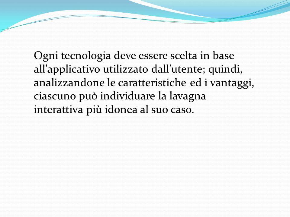 Ogni tecnologia deve essere scelta in base all'applicativo utilizzato dall'utente; quindi, analizzandone le caratteristiche ed i vantaggi, ciascuno può individuare la lavagna interattiva più idonea al suo caso.