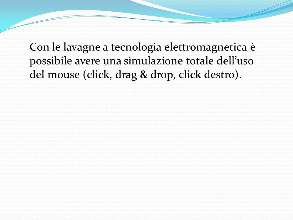 Con le lavagne a tecnologia elettromagnetica è possibile avere una simulazione totale dell'uso del mouse (click, drag & drop, click destro).