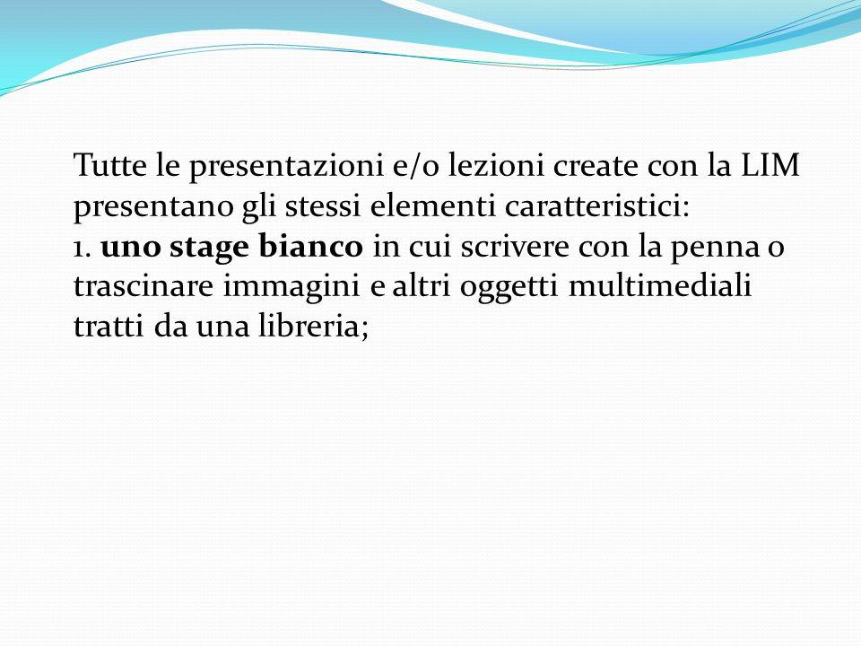 Tutte le presentazioni e/o lezioni create con la LIM presentano gli stessi elementi caratteristici: 1.