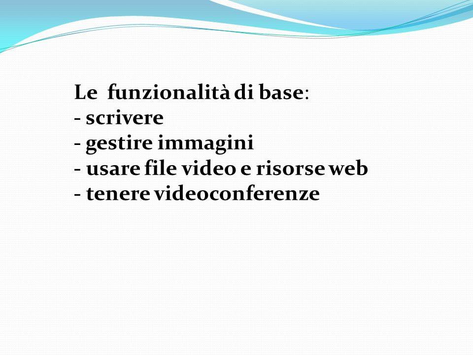 Le funzionalità di base: - scrivere - gestire immagini - usare file video e risorse web - tenere videoconferenze