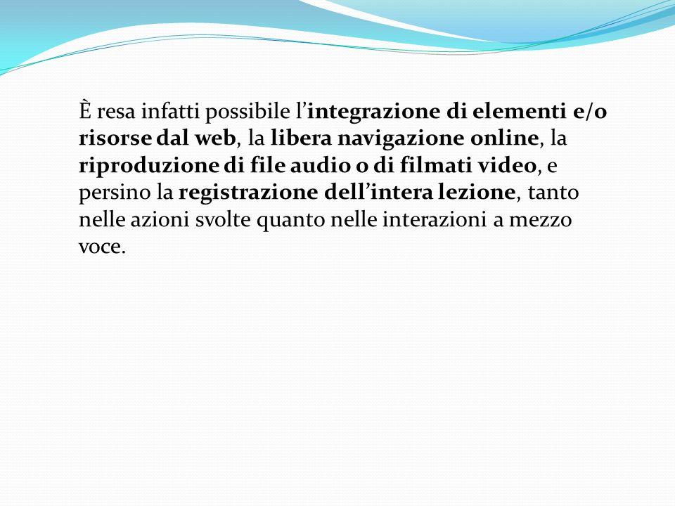 È resa infatti possibile l'integrazione di elementi e/o risorse dal web, la libera navigazione online, la riproduzione di file audio o di filmati video, e persino la registrazione dell'intera lezione, tanto nelle azioni svolte quanto nelle interazioni a mezzo voce.