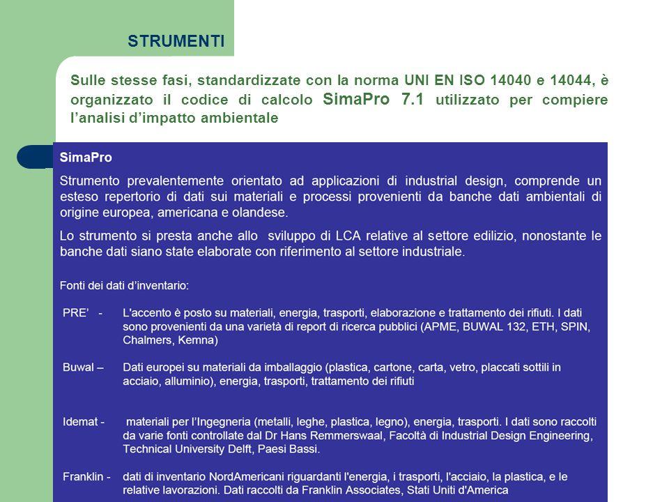 STRUMENTI Librerie Eco-indicator 99 IPCC 2001 CED 2001
