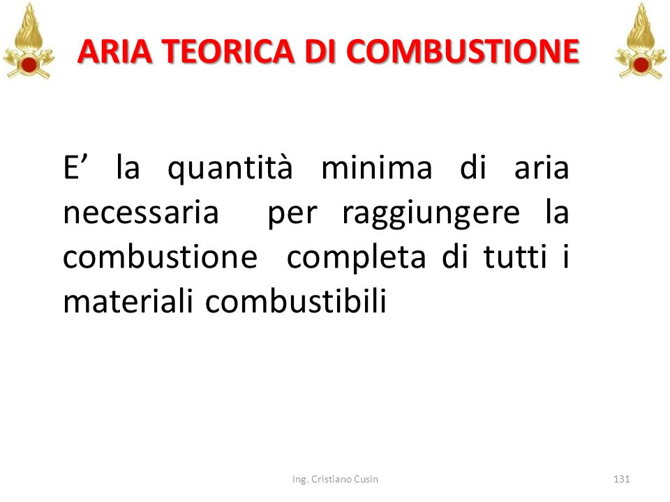 ARIA TEORICA DI COMBUSTIONE