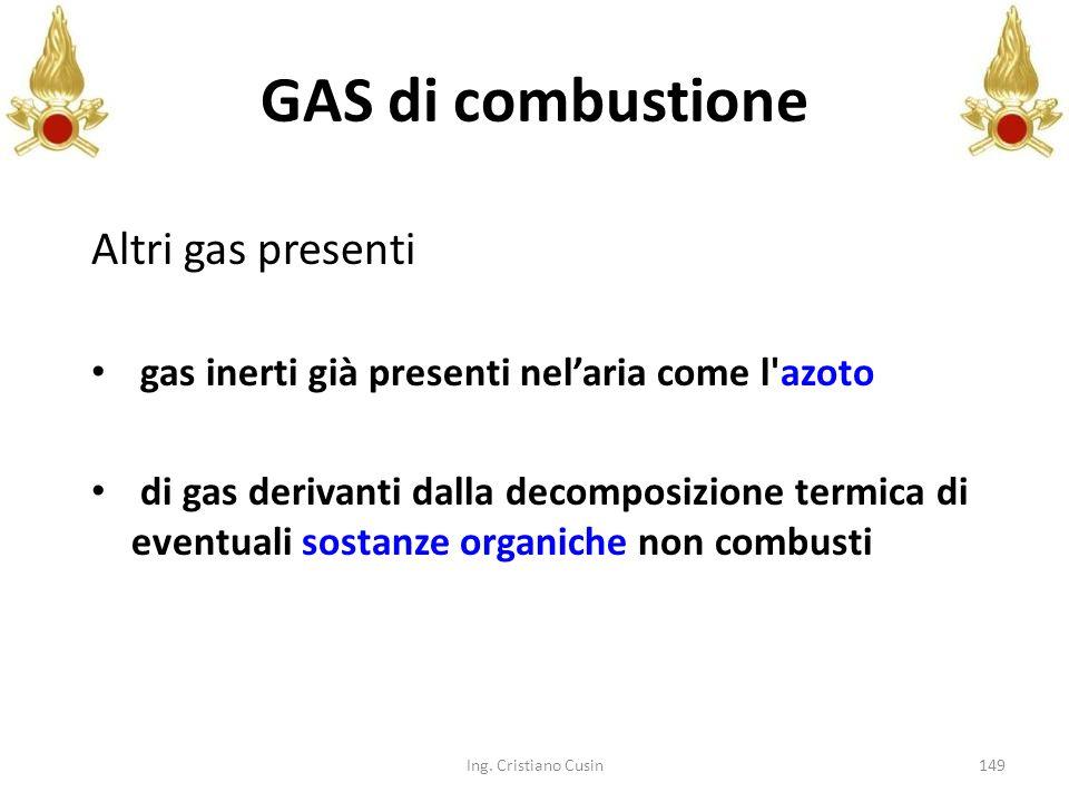 GAS di combustione Altri gas presenti