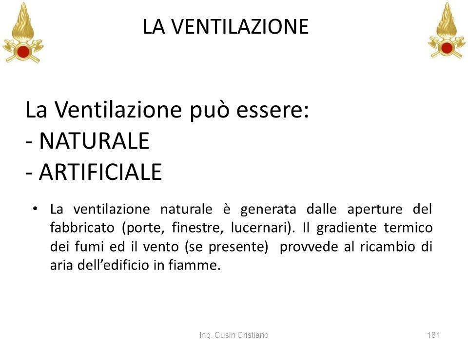 La Ventilazione può essere: - NATURALE - ARTIFICIALE