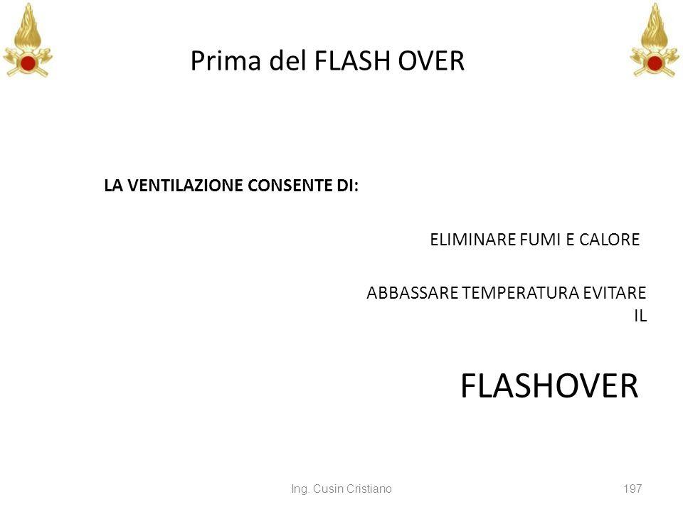 FLASHOVER Prima del FLASH OVER LA VENTILAZIONE CONSENTE DI: