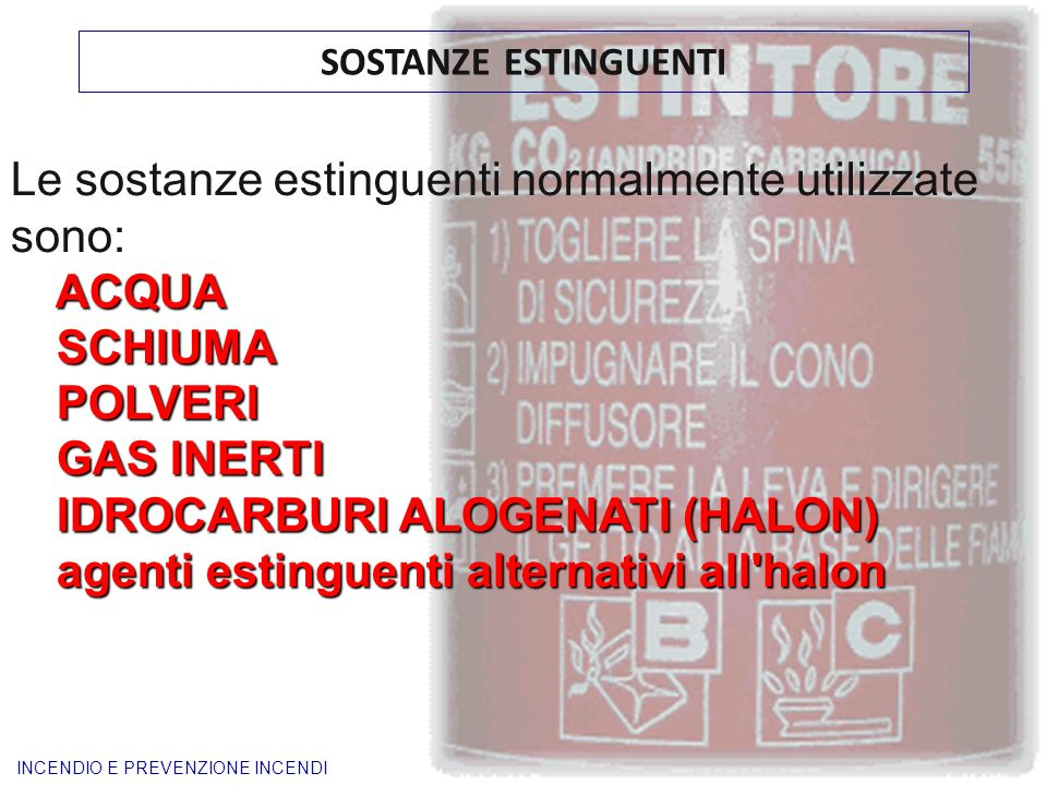 Le sostanze estinguenti normalmente utilizzate sono: