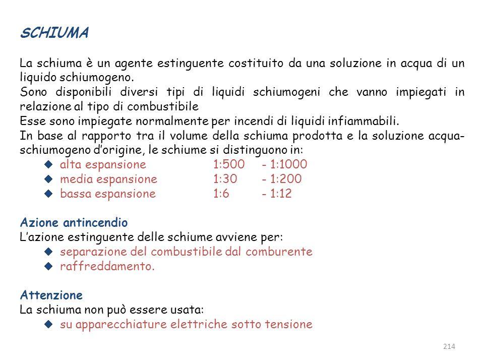 SCHIUMA La schiuma è un agente estinguente costituito da una soluzione in acqua di un liquido schiumogeno.