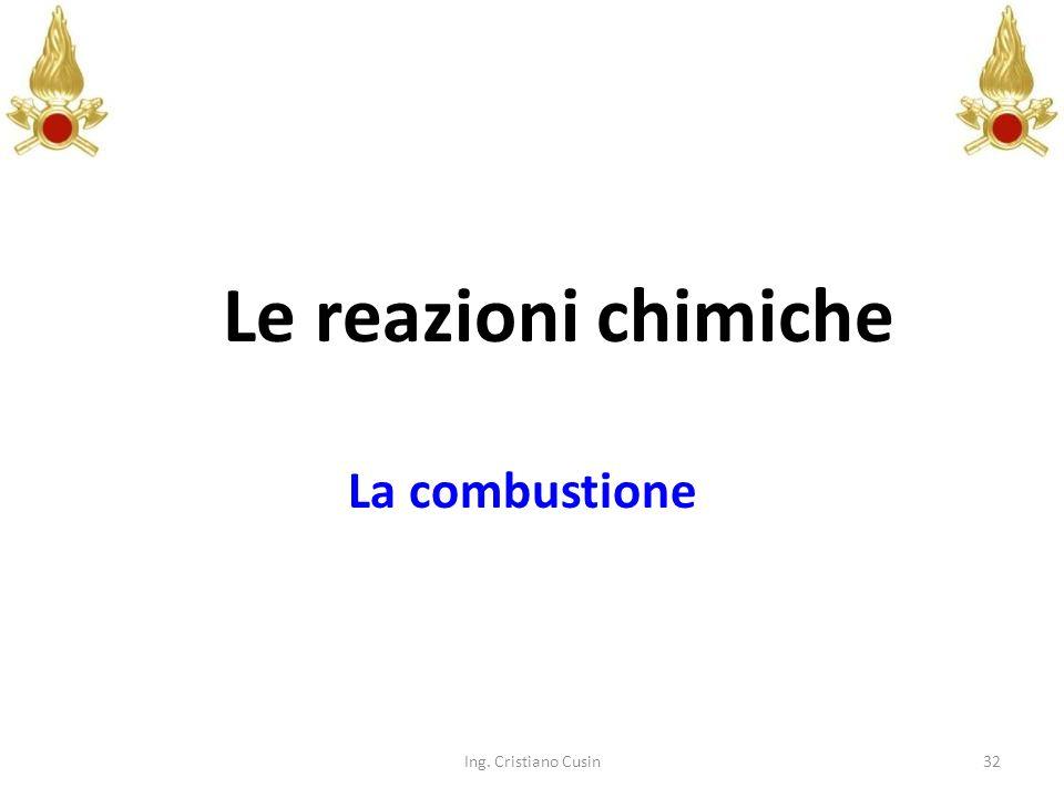 Le reazioni chimiche La combustione Ing. Cristiano Cusin