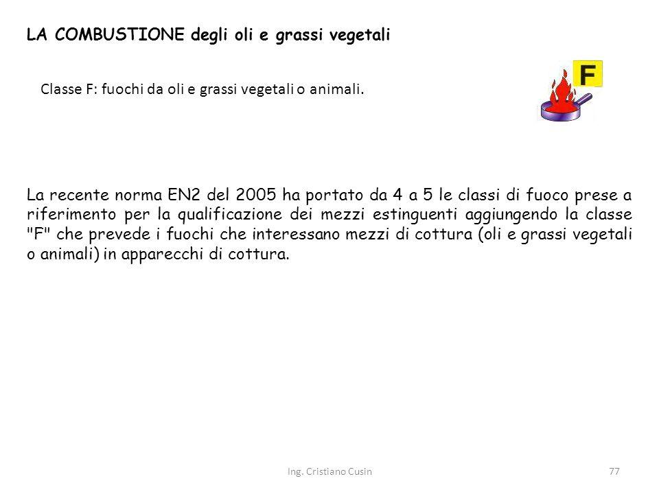 LA COMBUSTIONE degli oli e grassi vegetali