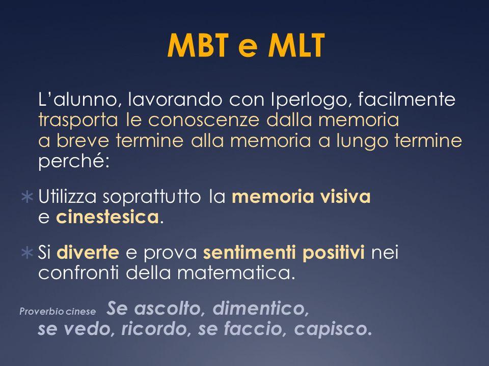 MBT e MLT L'alunno, lavorando con Iperlogo, facilmente trasporta le conoscenze dalla memoria a breve termine alla memoria a lungo termine perché: