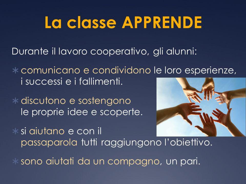La classe APPRENDE Durante il lavoro cooperativo, gli alunni: