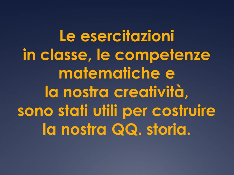Le esercitazioni in classe, le competenze matematiche e la nostra creatività, sono stati utili per costruire la nostra QQ.