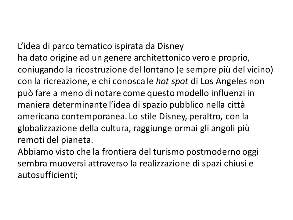 L'idea di parco tematico ispirata da Disney