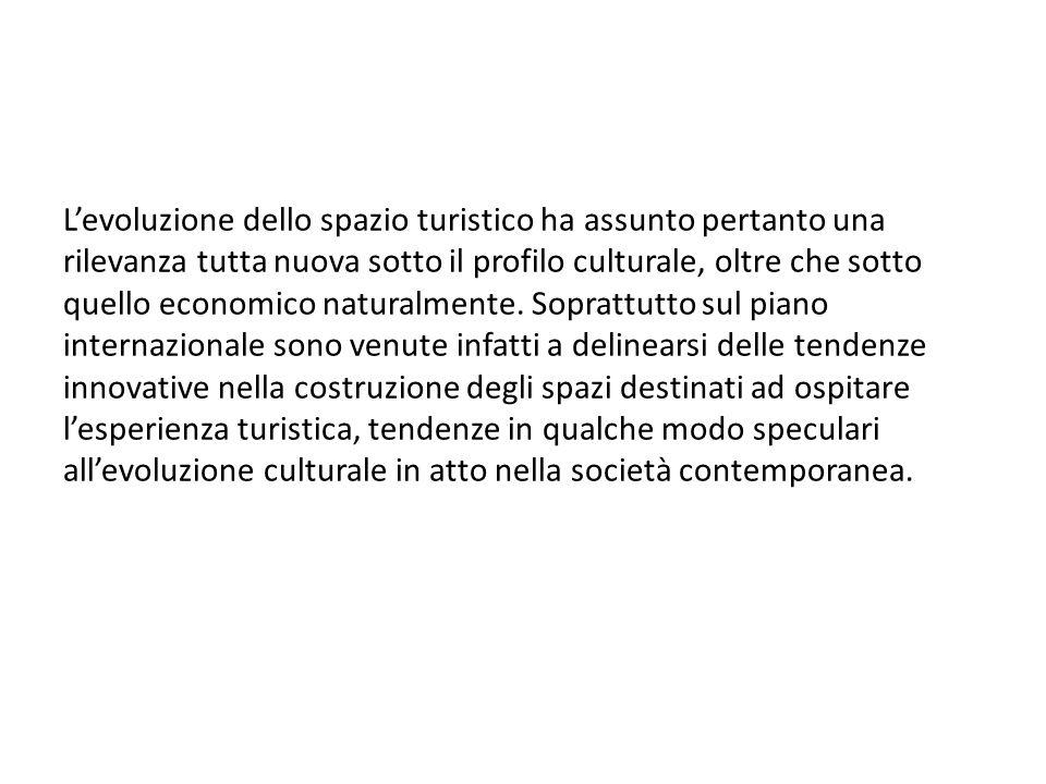 L'evoluzione dello spazio turistico ha assunto pertanto una rilevanza tutta nuova sotto il profilo culturale, oltre che sotto quello economico naturalmente.
