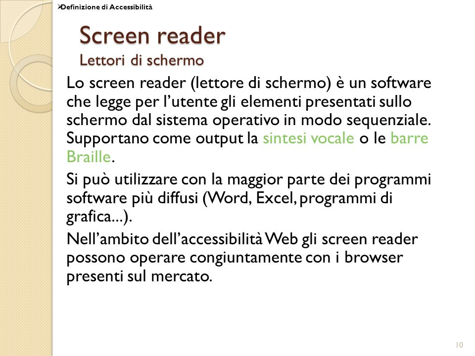 Screen reader Lettori di schermo