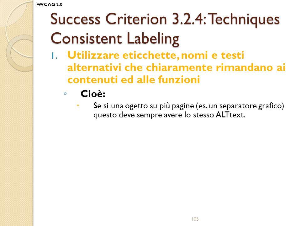 Success Criterion 3.2.4: Techniques Consistent Labeling