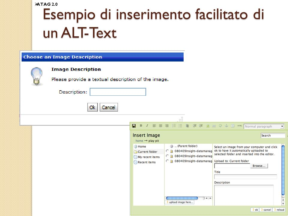 Esempio di inserimento facilitato di un ALT-Text