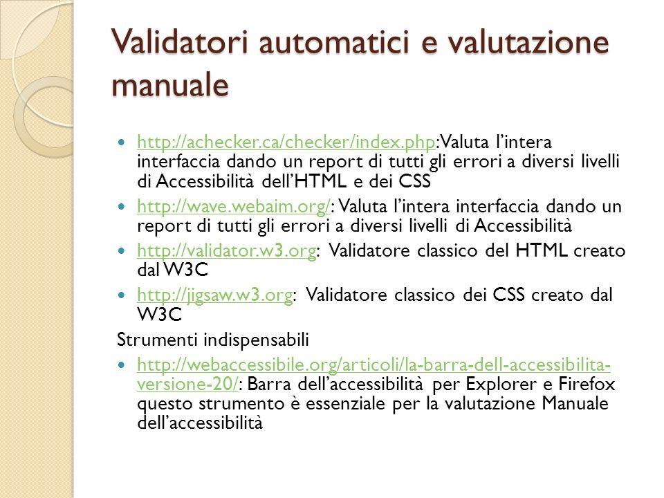 Validatori automatici e valutazione manuale