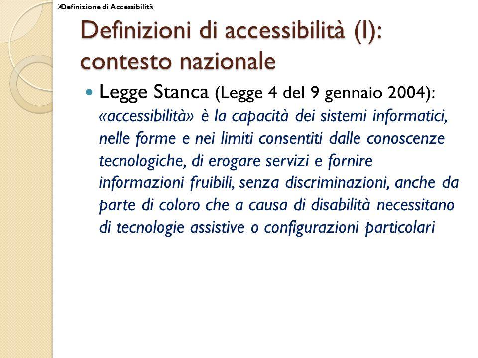 Definizioni di accessibilità (I): contesto nazionale