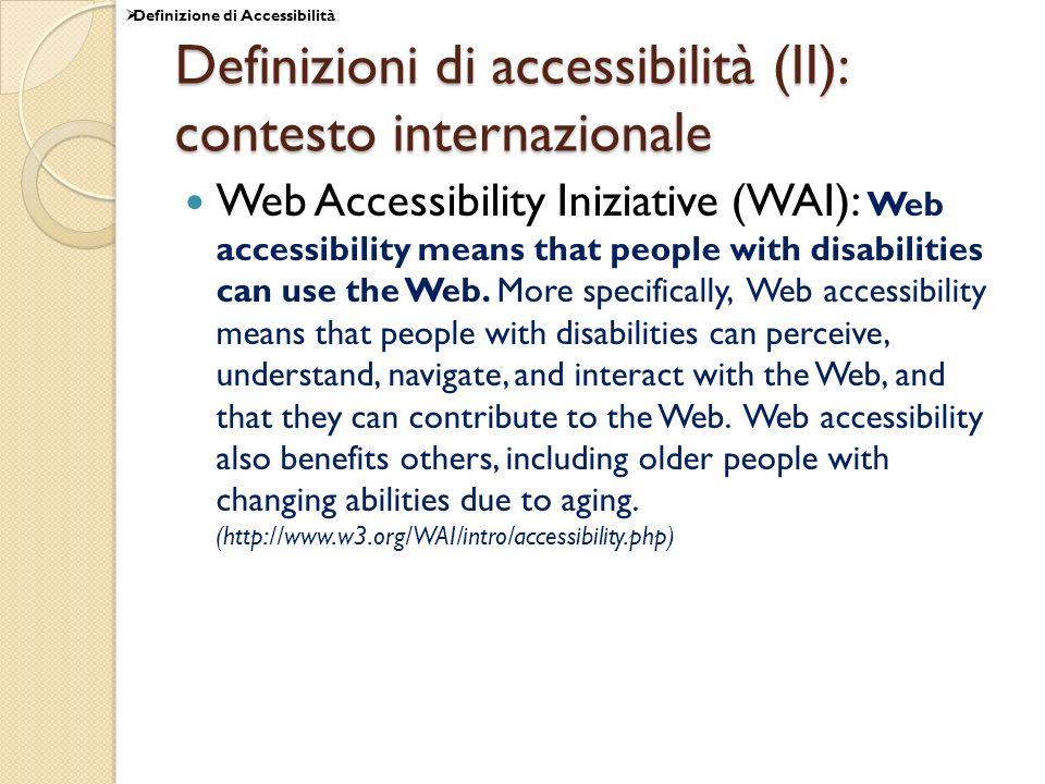 Definizioni di accessibilità (II): contesto internazionale